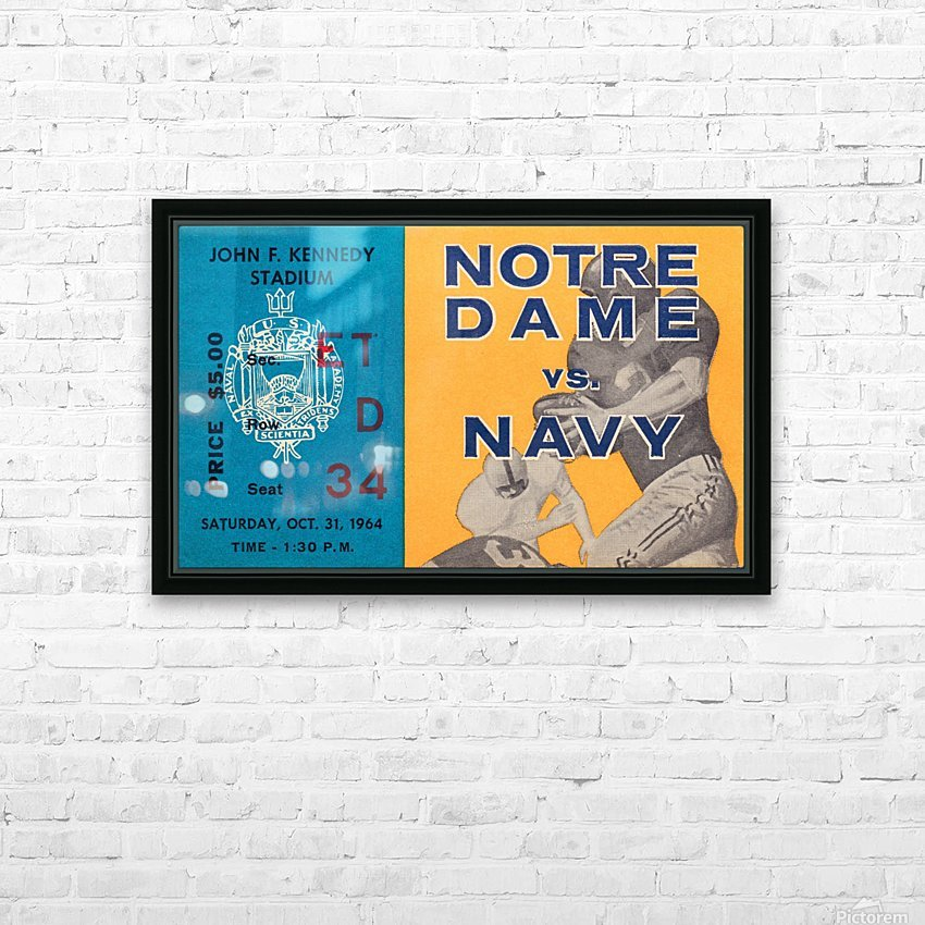1964 Notre Dame vs. Navy HD Sublimation Metal print with Decorating Float Frame (BOX)