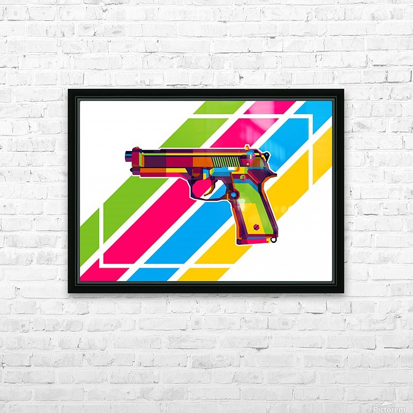 Classic Handgun HD Sublimation Metal print with Decorating Float Frame (BOX)