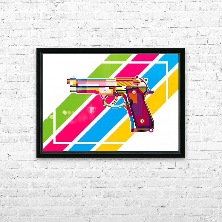 Baretta 92 Handgun HD Sublimation Metal print with Decorating Float Frame (BOX)