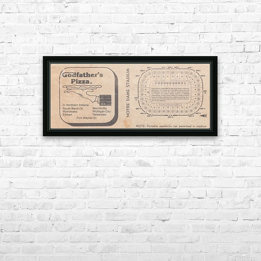 Retro Stadium Maps_Notre Dame Stadium Map_1982_South Bend Indiana Maps_Godfathers Pizza Ad_Artwork HD Sublimation Metal print with Decorating Float Frame (BOX)