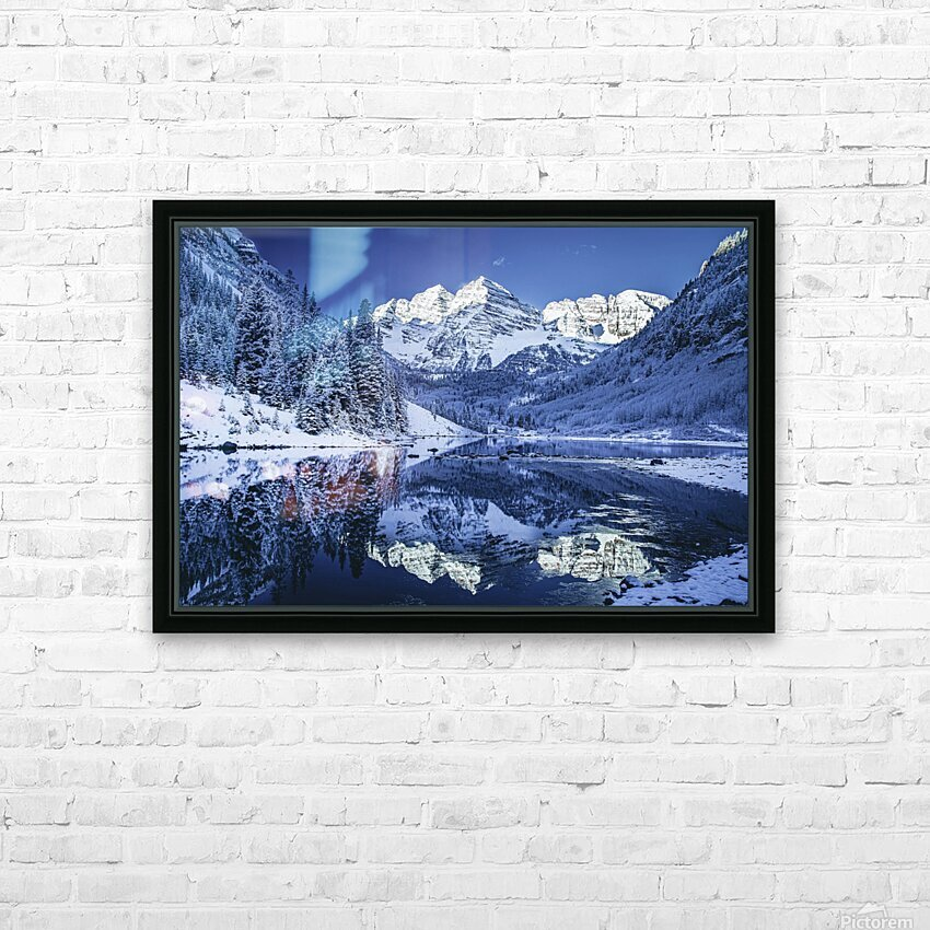Maroon Bells Dressed in white HD Sublimation Metal print with Decorating Float Frame (BOX)