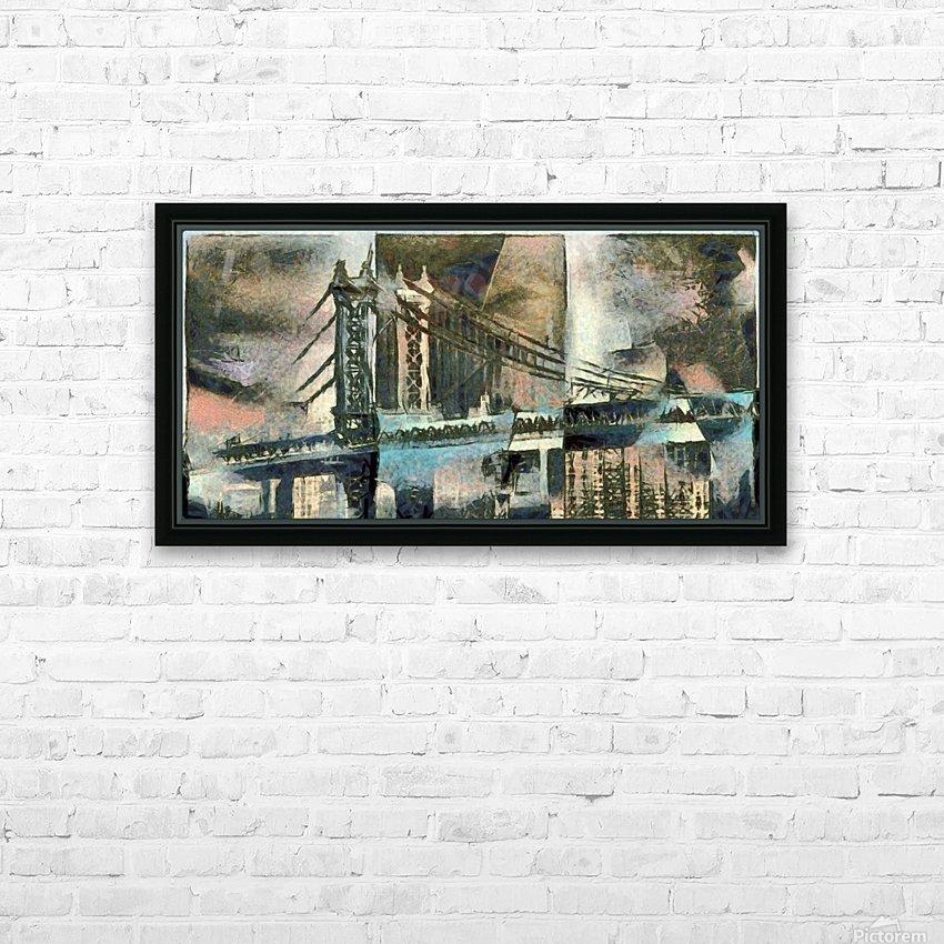 Manhattan Bridge HD Sublimation Metal print with Decorating Float Frame (BOX)