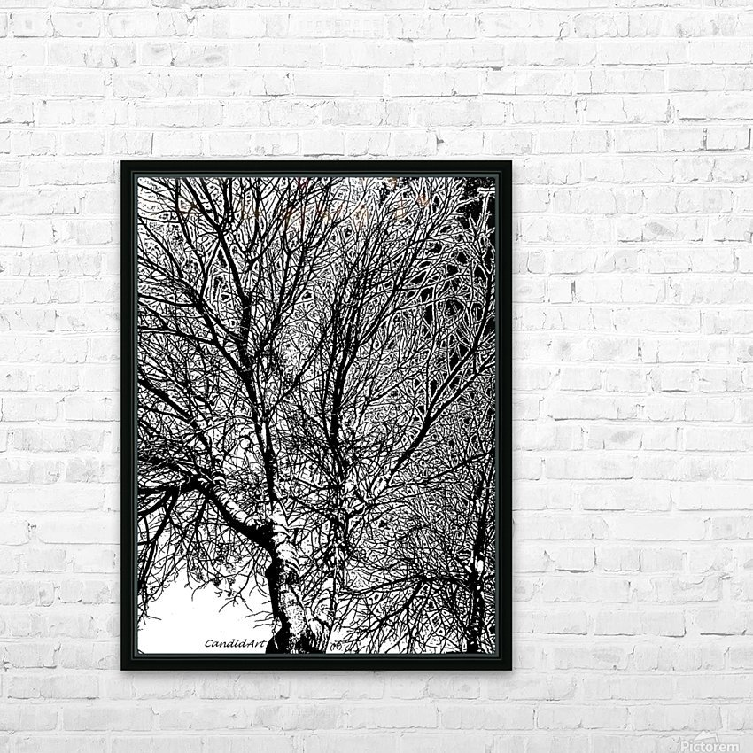 Afridaizy Black & White Trees Threshold029 HD Sublimation Metal print with Decorating Float Frame (BOX)
