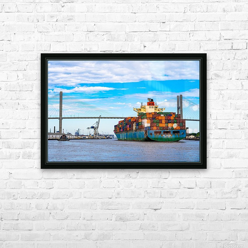 Cargo Ship on the Savannah River 04044 HD Sublimation Metal print with Decorating Float Frame (BOX)