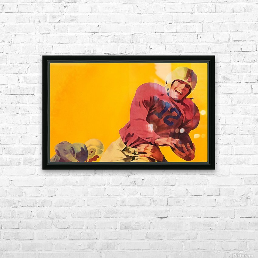 Vintage Football Artwork_Vintage Football Posters HD Sublimation Metal print with Decorating Float Frame (BOX)