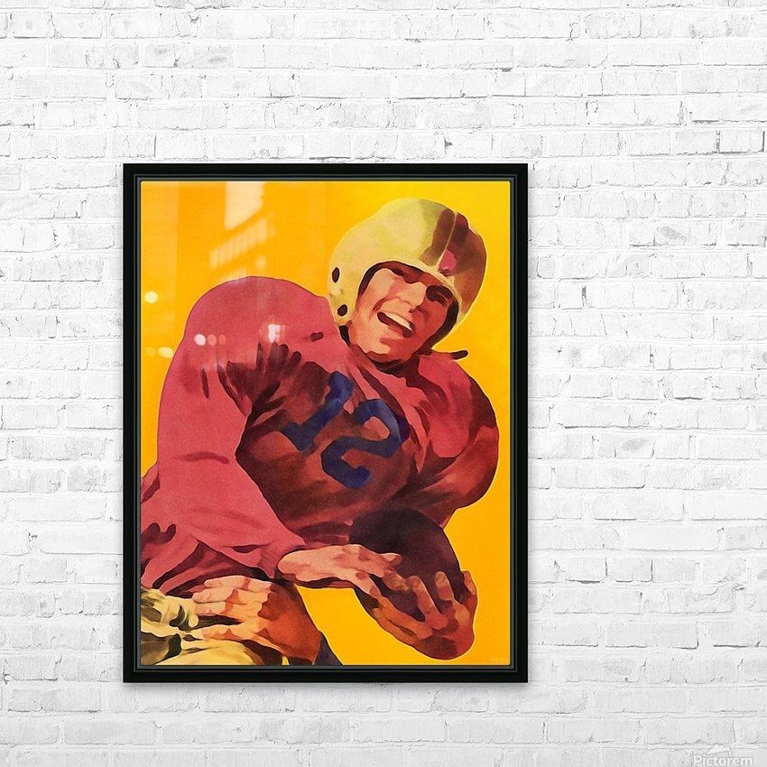Vintage Football Poster_Football Prints Wall Art Posters HD Sublimation Metal print with Decorating Float Frame (BOX)