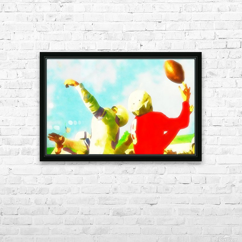 Vintage Football Print_Touchdown Catch Art Print HD Sublimation Metal print with Decorating Float Frame (BOX)