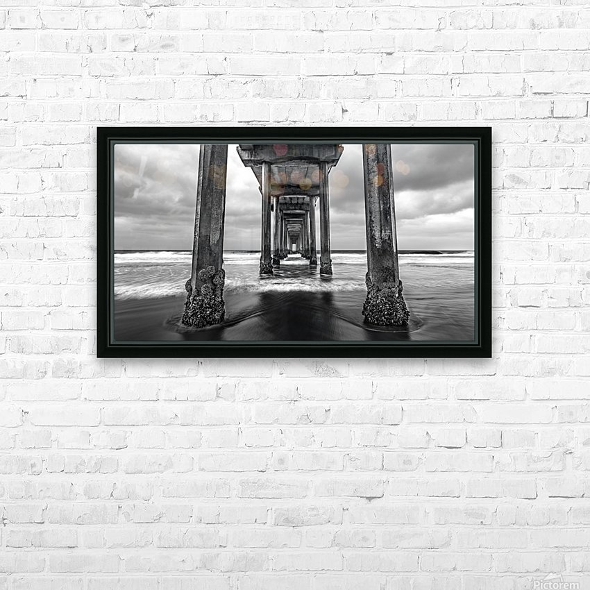 Scripps Pier in B&W HD Sublimation Metal print with Decorating Float Frame (BOX)