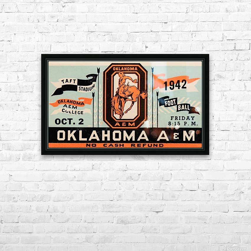 Vintage Oklahoma A&M Art HD Sublimation Metal print with Decorating Float Frame (BOX)