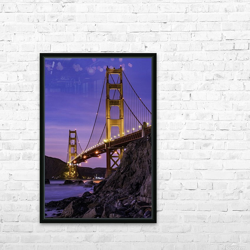 Golden Gate Blue Hour HD Sublimation Metal print with Decorating Float Frame (BOX)