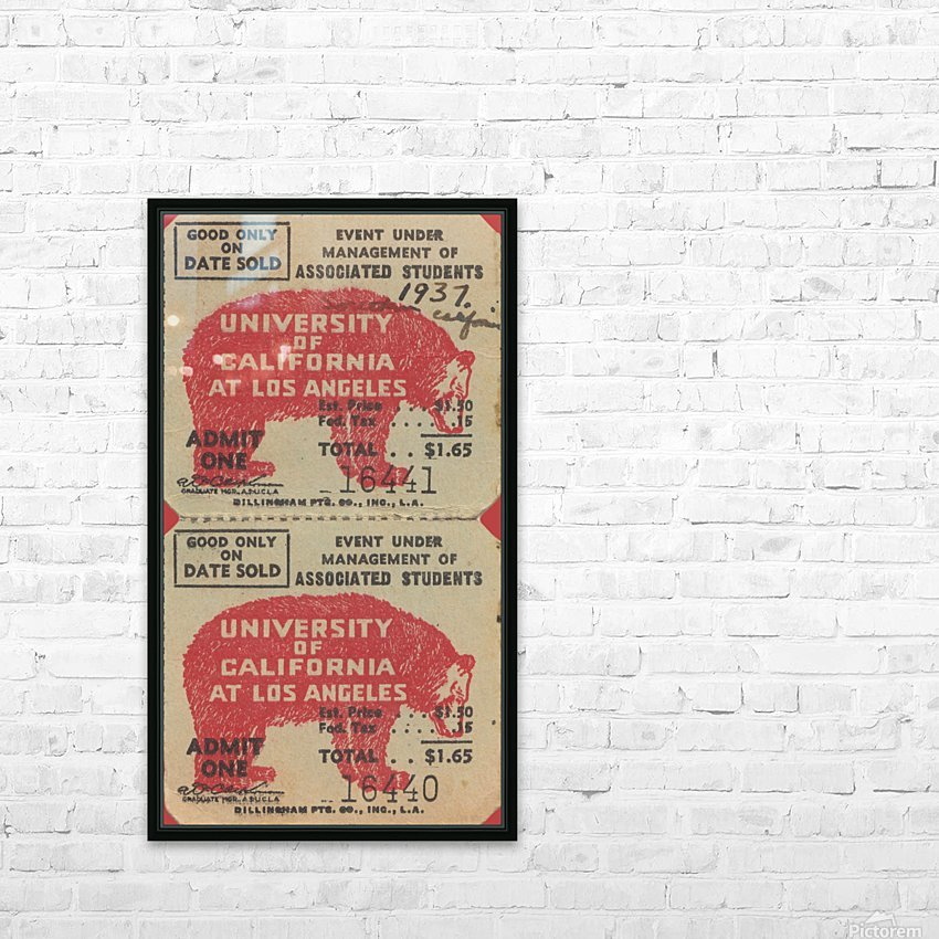 1937 USC Trojans vs. UCLA Bruins College Football Ticket Stub Art Admit One Row One Brand HD Sublimation Metal print with Decorating Float Frame (BOX)