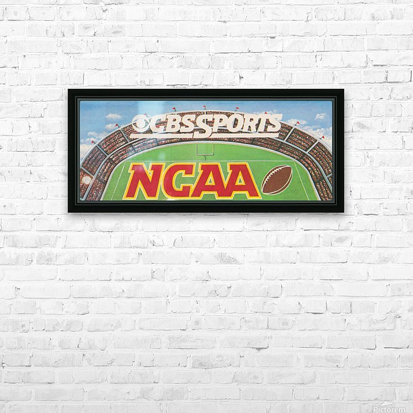 CBS Sports NCAA Football Ad Reproduction_Vintage Sports Ads_Retro 1980s Ad HD Sublimation Metal print with Decorating Float Frame (BOX)