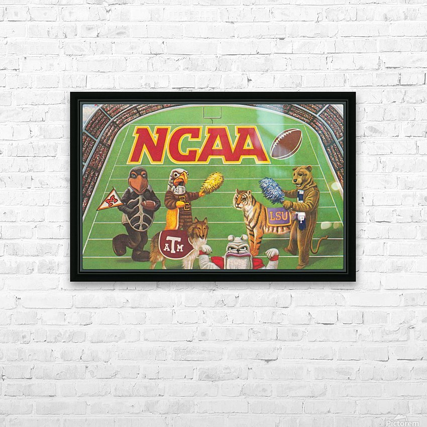 1984 NCAA Football Ad Reproduction_Vintage Sports Ads_Retro Sports Advertisement HD Sublimation Metal print with Decorating Float Frame (BOX)