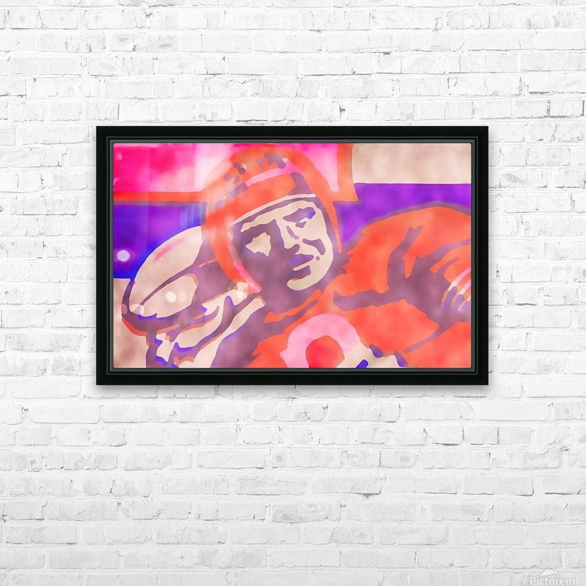 Vintage Quarterback Football Art_Watercolor Style Sports Art Print HD Sublimation Metal print with Decorating Float Frame (BOX)