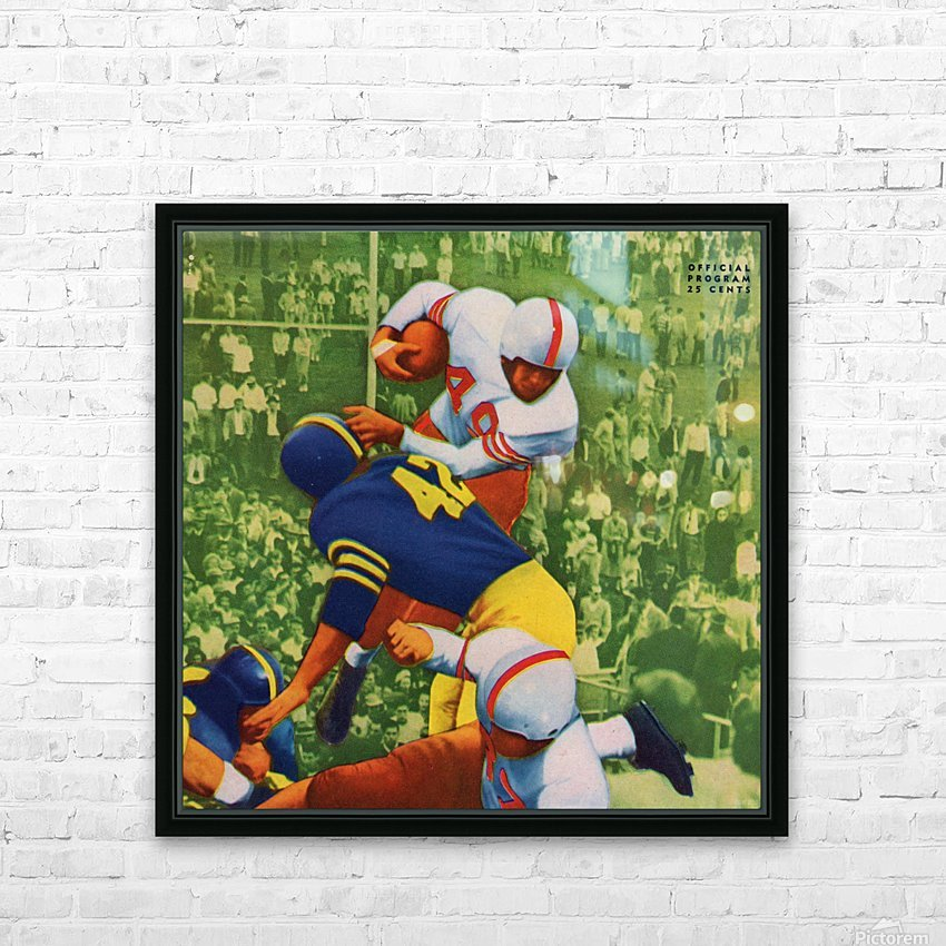 Vintage College Football Program Cover Art Print HD Sublimation Metal print with Decorating Float Frame (BOX)