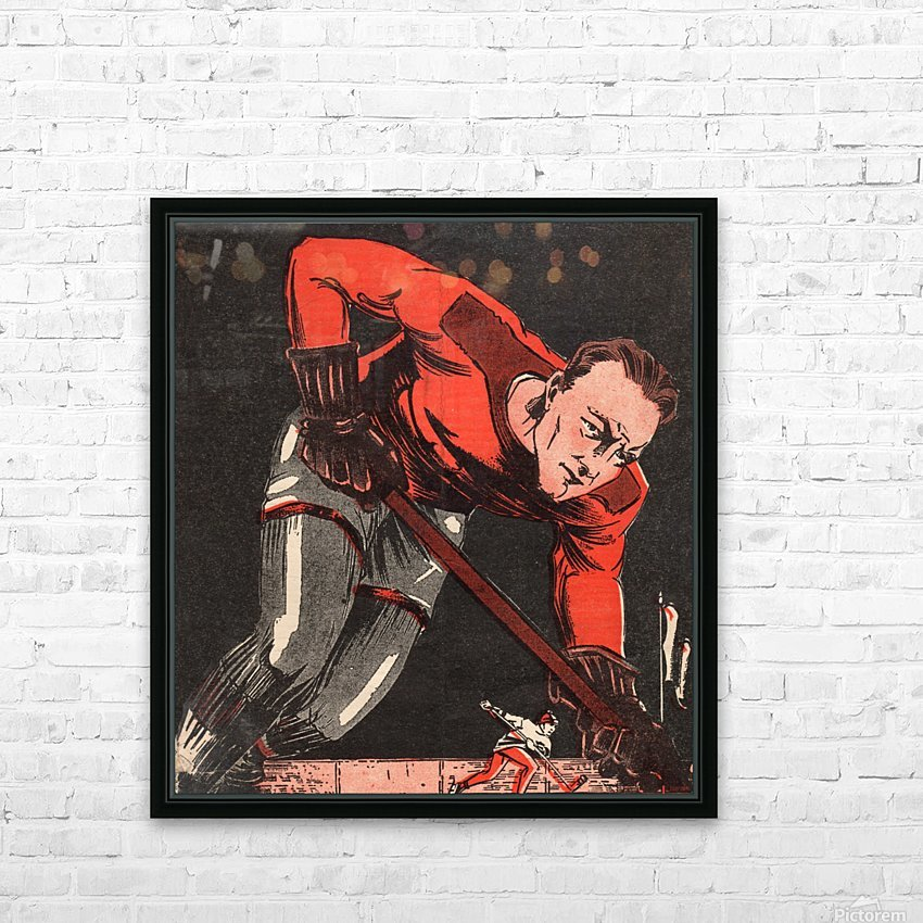 Vintage Hockey Art Poster_Vintage Sports Poster (1) HD Sublimation Metal print with Decorating Float Frame (BOX)