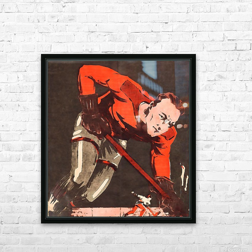 Vintage Hockey Watercolor Art Print HD Sublimation Metal print with Decorating Float Frame (BOX)