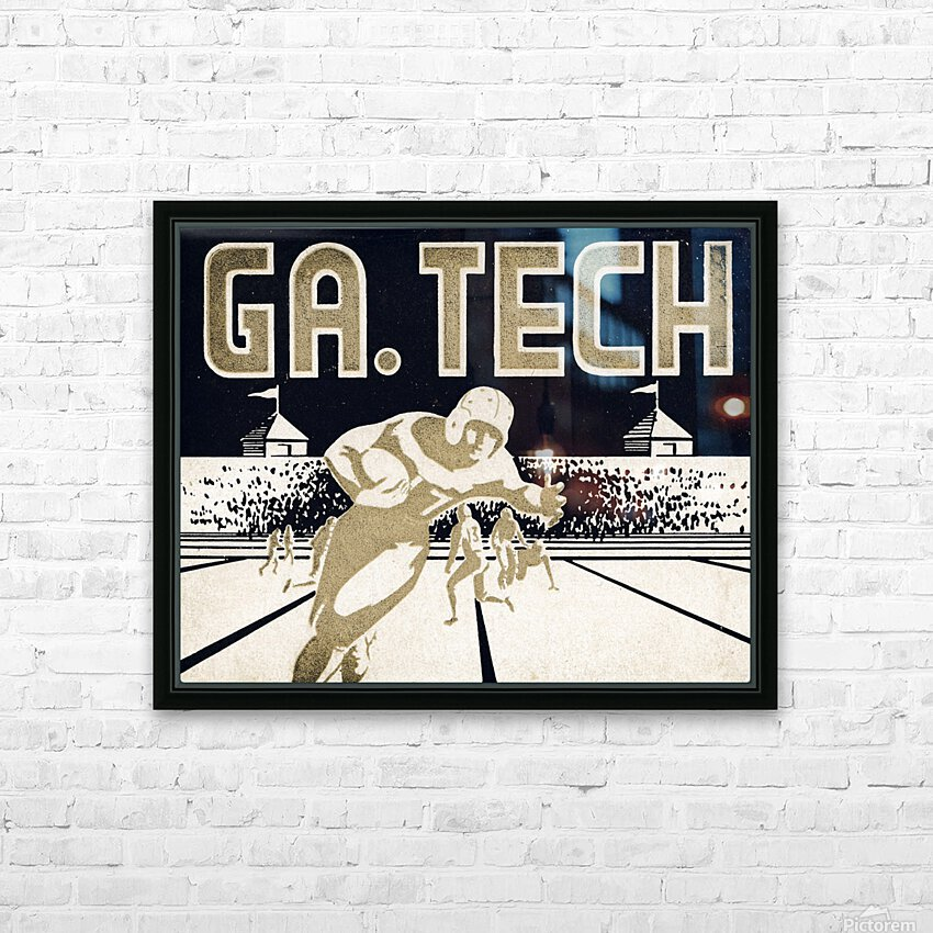 Vintage Georgia Tech Football Art_College Football Fine Art Print HD Sublimation Metal print with Decorating Float Frame (BOX)