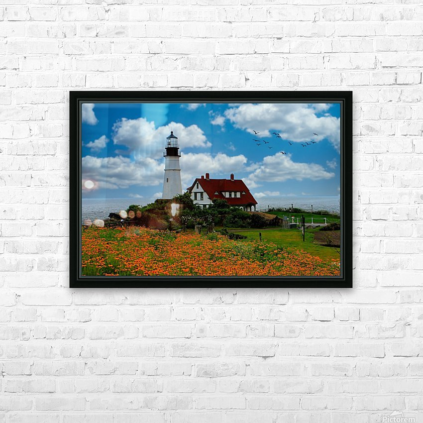 Maine Lighthouse HD Sublimation Metal print with Decorating Float Frame (BOX)