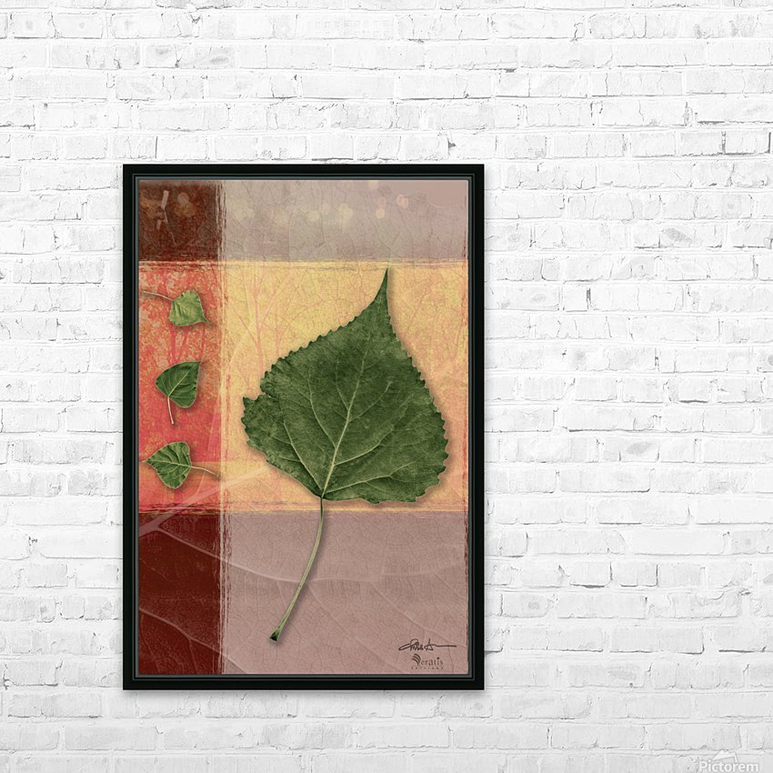 Leaves on Peach & Salmon 2x3 HD Sublimation Metal print with Decorating Float Frame (BOX)