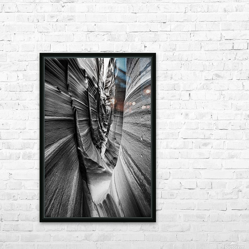 B&W Zebra Slot Canyon II HD Sublimation Metal print with Decorating Float Frame (BOX)
