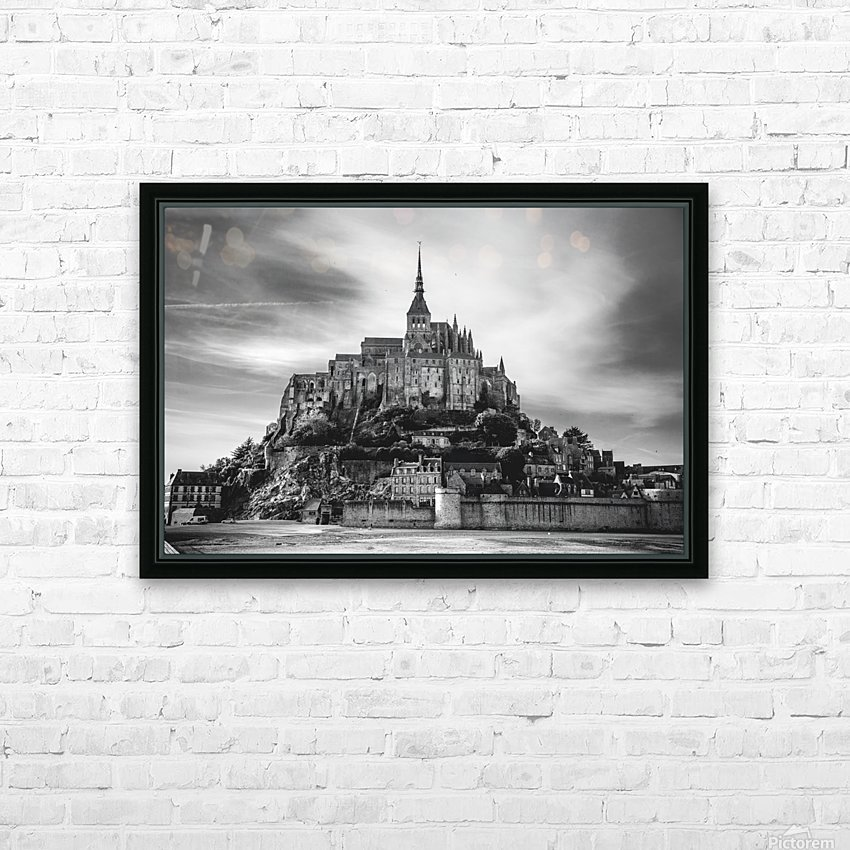 B&W Mont Saint Michel HD Sublimation Metal print with Decorating Float Frame (BOX)