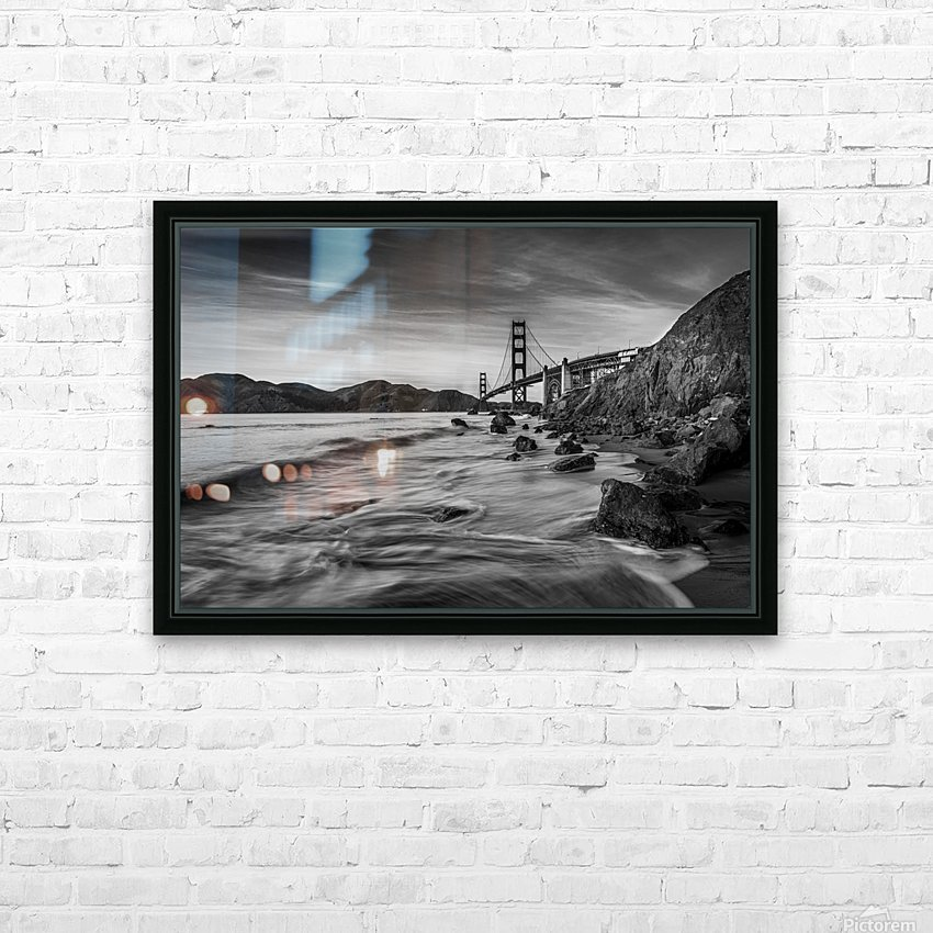 B&W Golden Gate Sunset HD Sublimation Metal print with Decorating Float Frame (BOX)