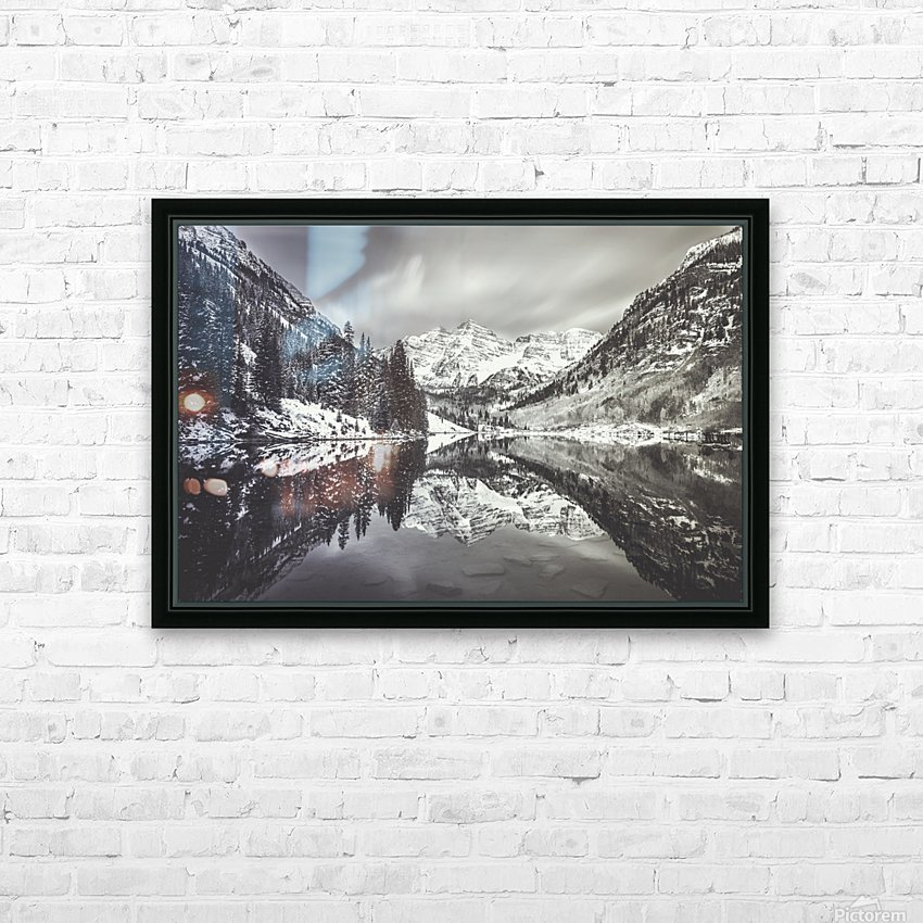 B&W Maroon Bells  HD Sublimation Metal print with Decorating Float Frame (BOX)