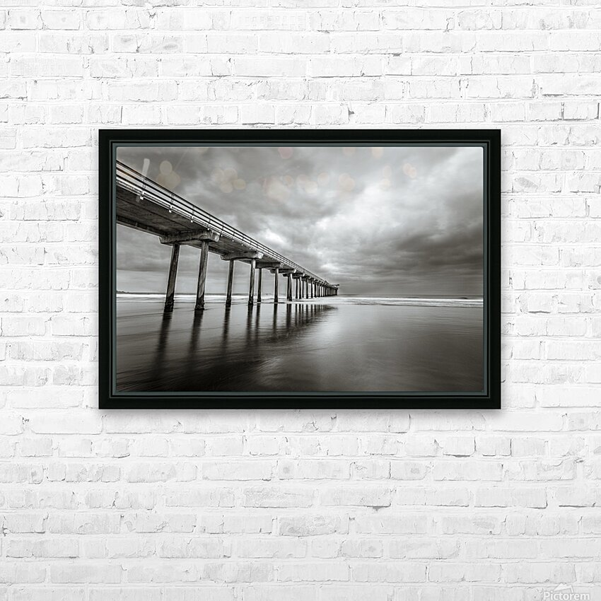B&W Scripps Pier San Diego HD Sublimation Metal print with Decorating Float Frame (BOX)