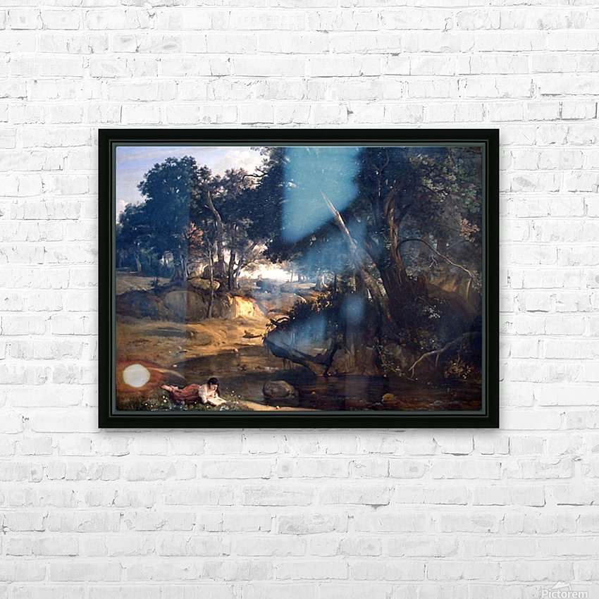 Forest of Fontainebleau by Corot HD Sublimation Metal print with Decorating Float Frame (BOX)