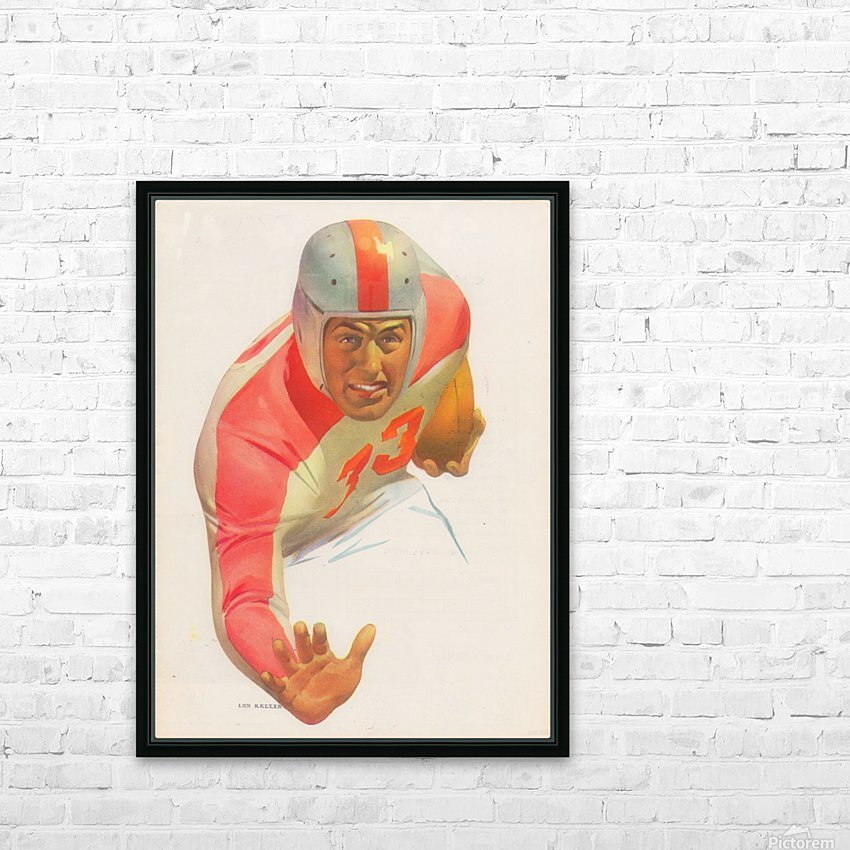 Lon Keller Football Art Reproduction_Best Vintage Football Art_Football Art Print Digitally Restored HD Sublimation Metal print with Decorating Float Frame (BOX)