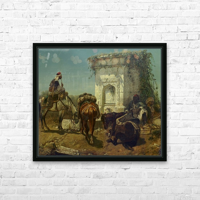 Arabs resting by a marble fountain HD Sublimation Metal print with Decorating Float Frame (BOX)