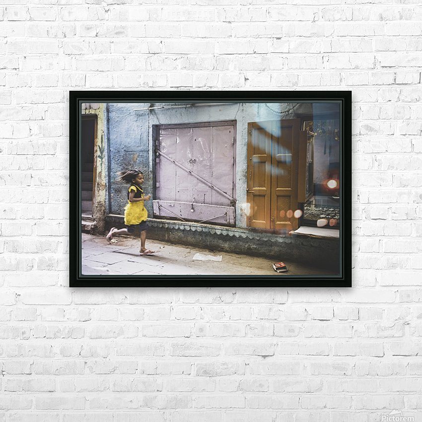 Varanasi Window - The girl HD Sublimation Metal print with Decorating Float Frame (BOX)