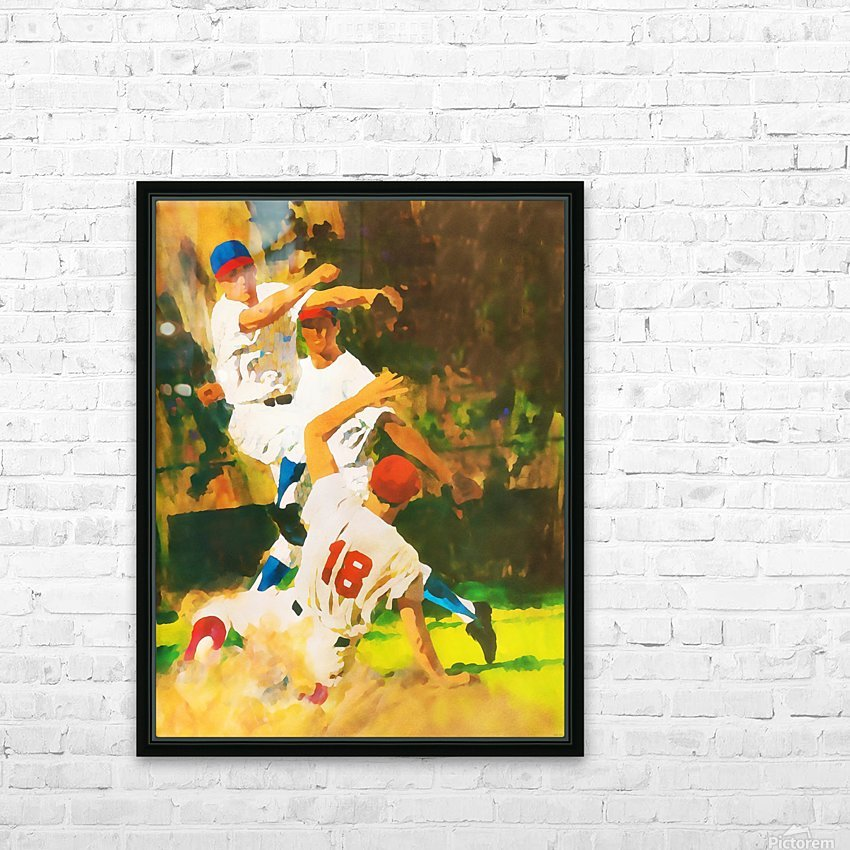 vintage watercolor style baseball art poster print sports artwork row one collection HD Sublimation Metal print with Decorating Float Frame (BOX)