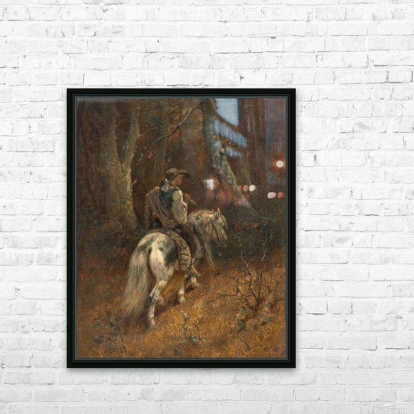 Reiter im Wald HD Sublimation Metal print with Decorating Float Frame (BOX)