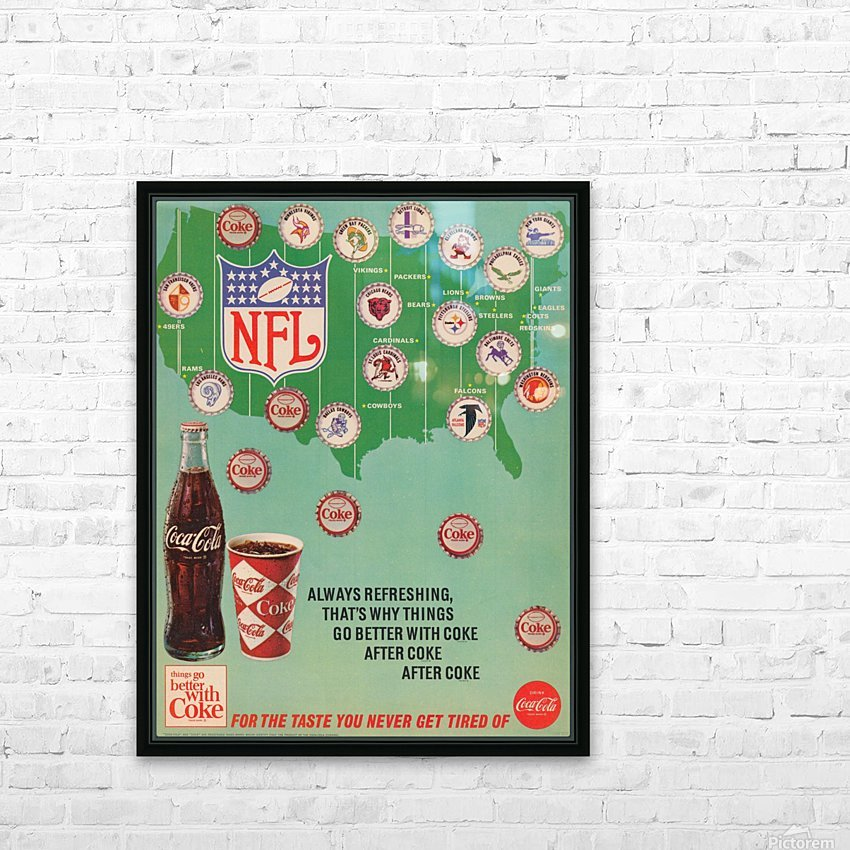 Vintage Coke NFL Bottle Cap Ad HD Sublimation Metal print with Decorating Float Frame (BOX)