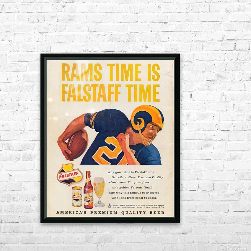 vintage falstaff beer ad la rams poster retro ads reproduction art HD Sublimation Metal print with Decorating Float Frame (BOX)