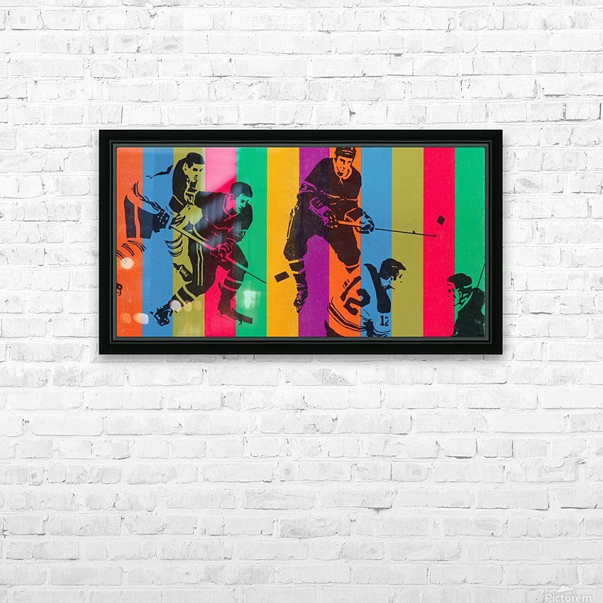 vintage hockey art colorful sports art poster HD Sublimation Metal print with Decorating Float Frame (BOX)