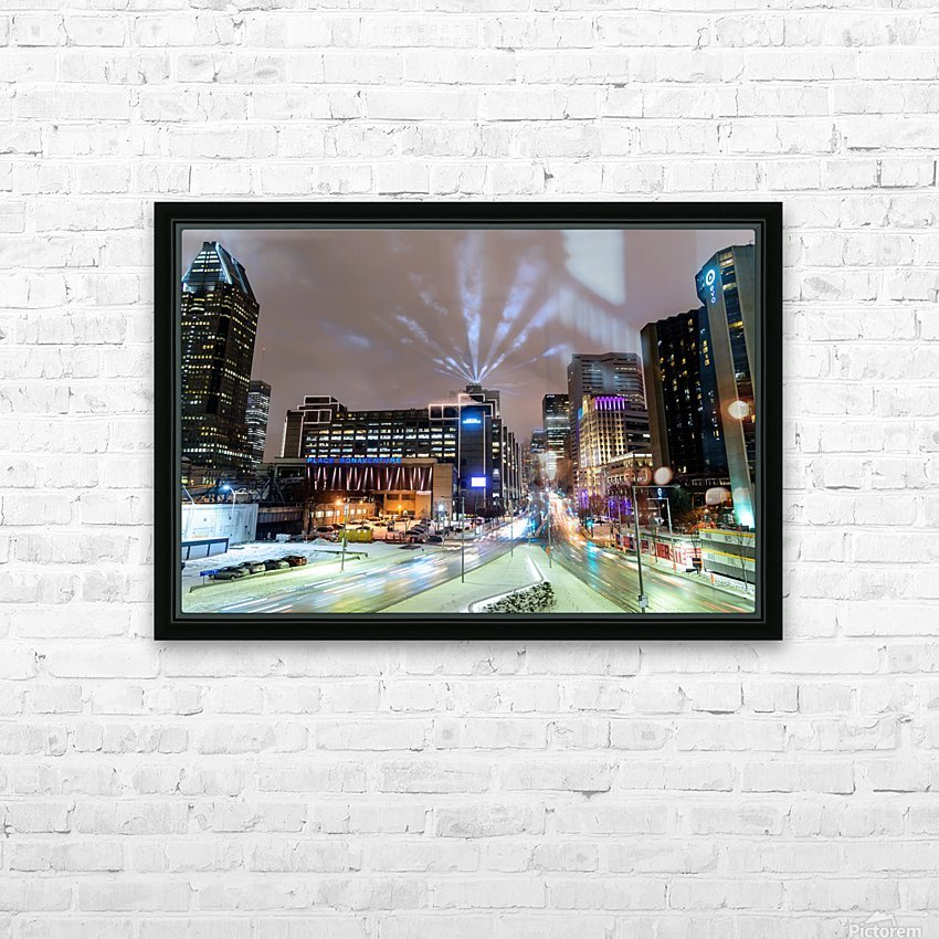 Close up city buildings at night HD Sublimation Metal print with Decorating Float Frame (BOX)