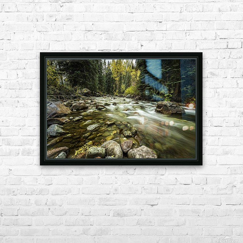 Rocky Mountain Stream HD Sublimation Metal print with Decorating Float Frame (BOX)