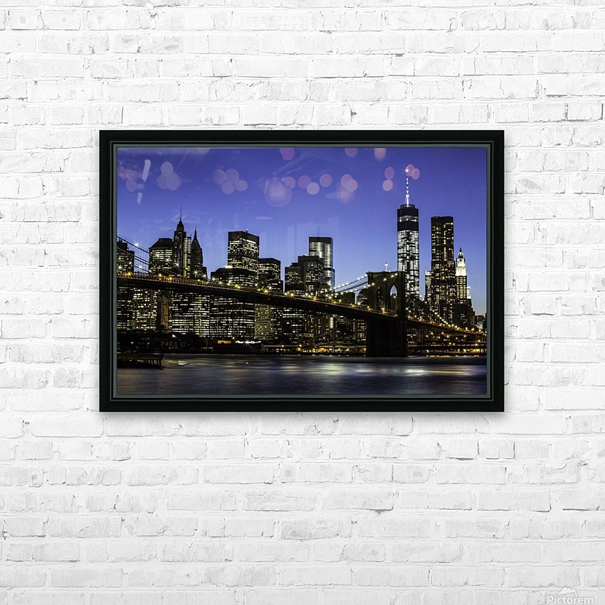 NY City Lights  HD Sublimation Metal print with Decorating Float Frame (BOX)