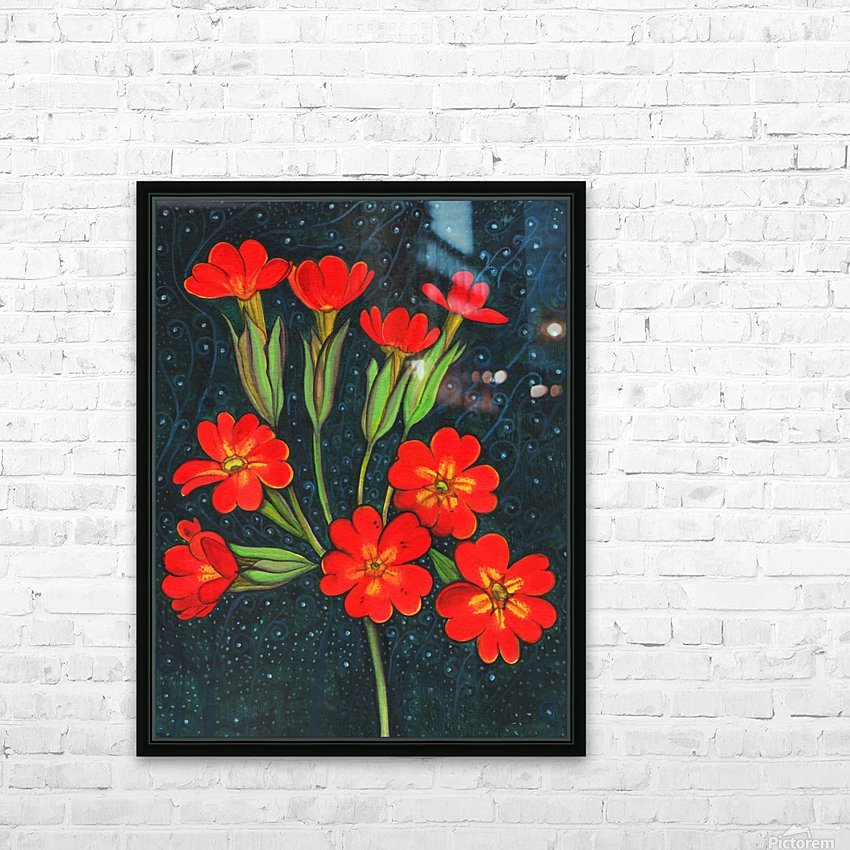 Red flowers shining in a magical starry night HD Sublimation Metal print with Decorating Float Frame (BOX)