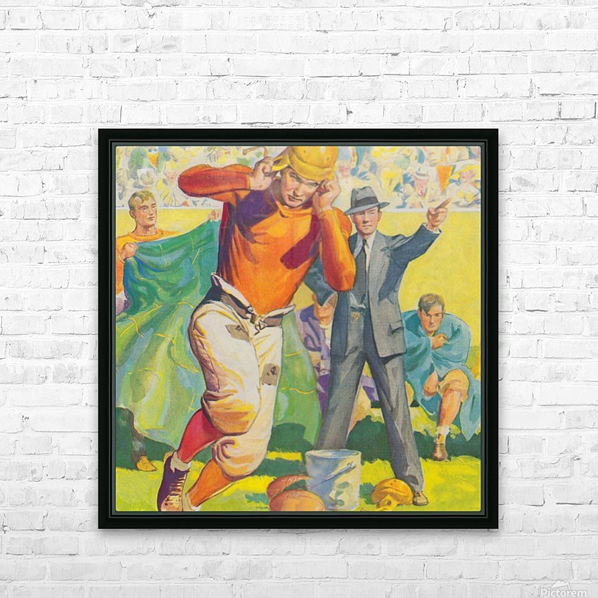 football poster american vintage gridiron sideline art print HD Sublimation Metal print with Decorating Float Frame (BOX)