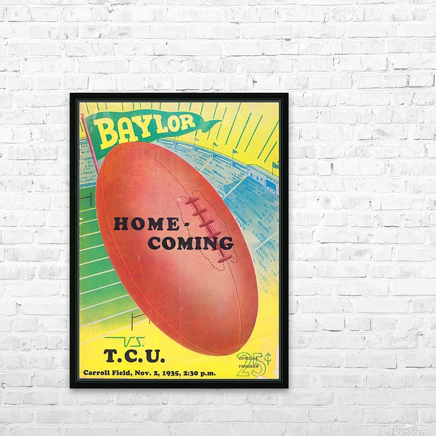 1935 College Football Program Cover Art Poster  Baylor Bears vs. TCU Football Art Print Posters HD Sublimation Metal print with Decorating Float Frame (BOX)