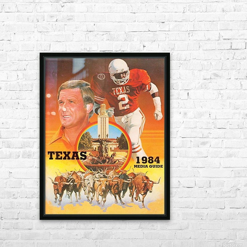 1984 Texas Longhorns Media Guide College Football Poster HD Sublimation Metal print with Decorating Float Frame (BOX)