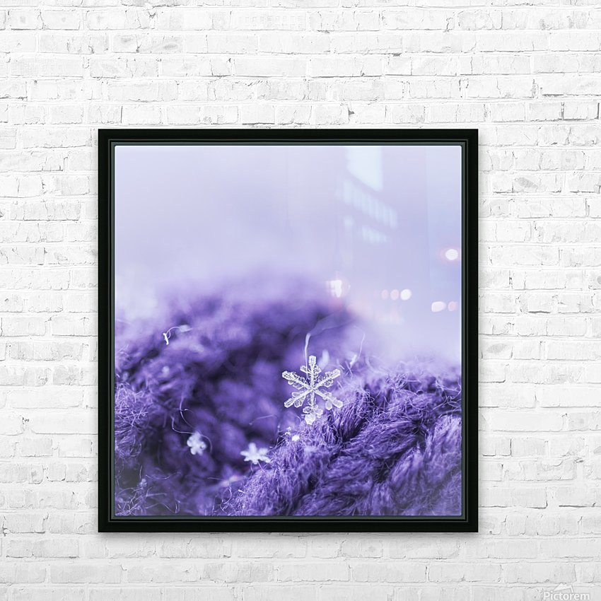 Purple Snowflakes HD Sublimation Metal print with Decorating Float Frame (BOX)