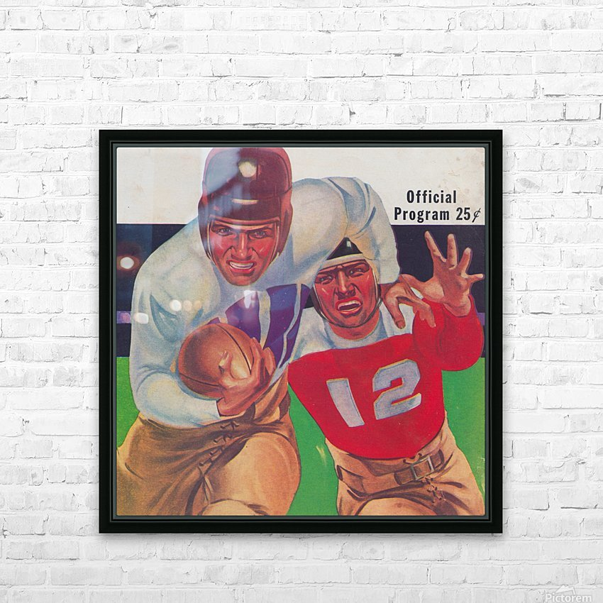 Vintage Football Framed Program Cover Art Posters (1937) HD Sublimation Metal print with Decorating Float Frame (BOX)