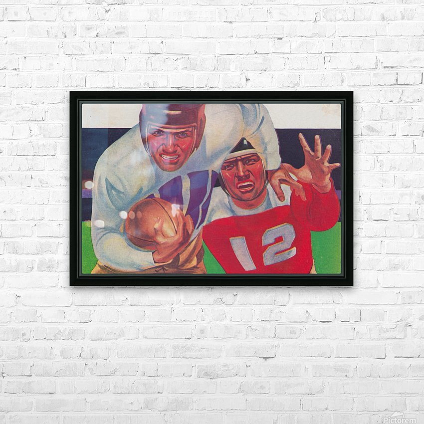 Vintage Football Fine Art Prints_ Old Football Art Poster HD Sublimation Metal print with Decorating Float Frame (BOX)