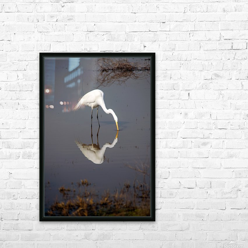 The Kiss White Egret HD Sublimation Metal print with Decorating Float Frame (BOX)