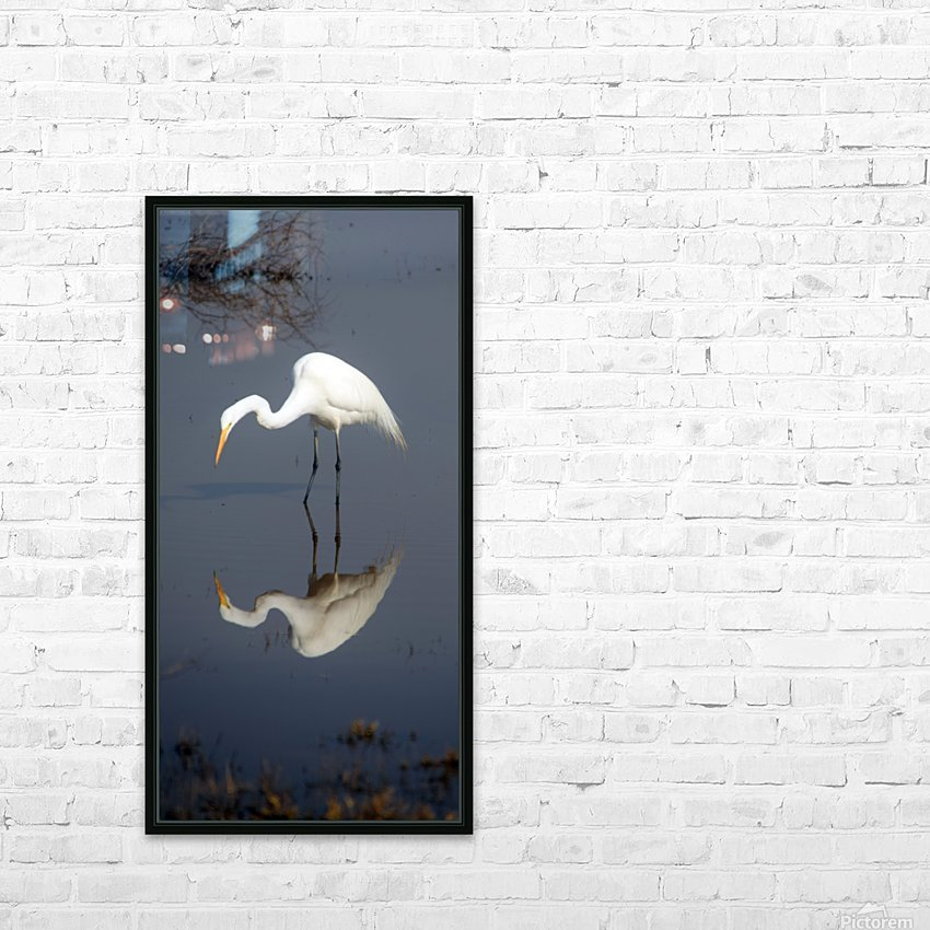 Who Are You White Egret HD Sublimation Metal print with Decorating Float Frame (BOX)